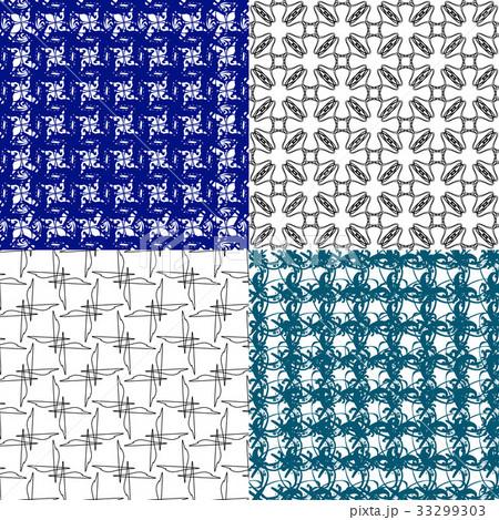 Set of 4 monochrome elegant patterns.Vector ornameのイラスト素材 [33299303] - PIXTA