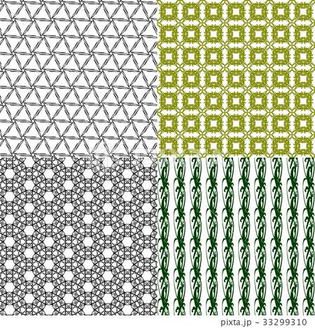 Set of 4 monochrome elegant patterns.Vector ornameのイラスト素材 [33299310] - PIXTA