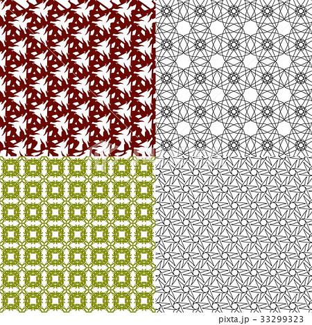 Set of 4 monochrome elegant patterns.Vector ornameのイラスト素材 [33299323] - PIXTA