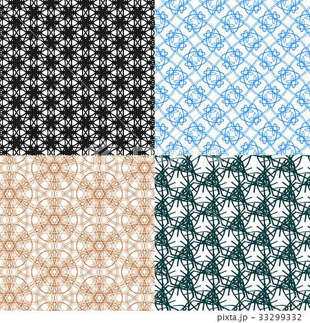 Set of 4 monochrome elegant patterns.Vector ornameのイラスト素材 [33299332] - PIXTA