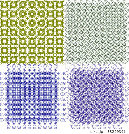Set of 4 monochrome elegant patterns.Vector ornameのイラスト素材 [33299341] - PIXTA