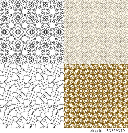 Set of 4 monochrome elegant patterns.Vector ornameのイラスト素材 [33299350] - PIXTA