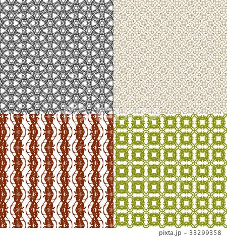 Set of 4 monochrome elegant patterns.Vector ornameのイラスト素材 [33299358] - PIXTA