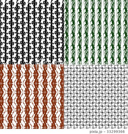 Set of 4 monochrome elegant patterns.Vector ornameのイラスト素材 [33299366] - PIXTA