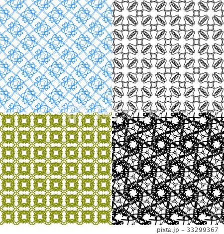 Set of 4 monochrome elegant patterns.Vector ornameのイラスト素材 [33299367] - PIXTA
