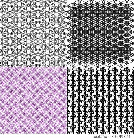 Set of 4 monochrome elegant patterns.Vector ornameのイラスト素材 [33299371] - PIXTA