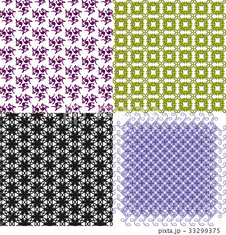 Set of 4 monochrome elegant patterns.Vector ornameのイラスト素材 [33299375] - PIXTA