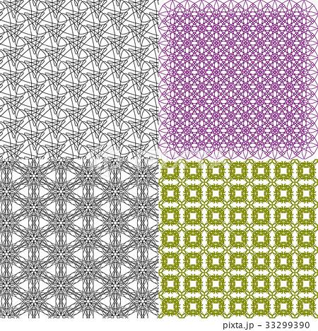 Set of 4 monochrome elegant patterns.Vector ornameのイラスト素材 [33299390] - PIXTA