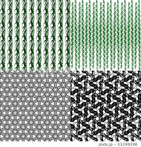 Set of 4 monochrome elegant patterns.Vector ornameのイラスト素材 [33299396] - PIXTA
