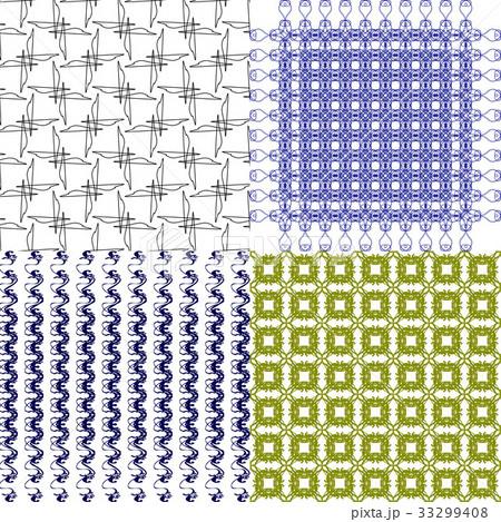 Set of 4 monochrome elegant patterns.Vector ornameのイラスト素材 [33299408] - PIXTA