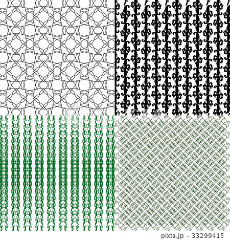 Set of 4 monochrome elegant patterns.Vector ornameのイラスト素材 [33299415] - PIXTA