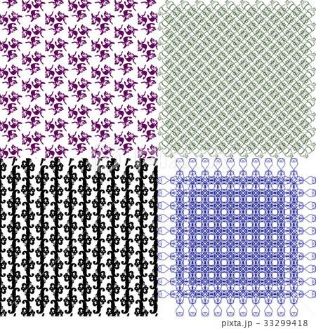 Set of 4 monochrome elegant patterns.Vector ornameのイラスト素材 [33299418] - PIXTA