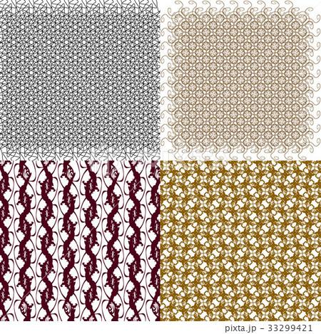 Set of 4 monochrome elegant patterns.Vector ornameのイラスト素材 [33299421] - PIXTA