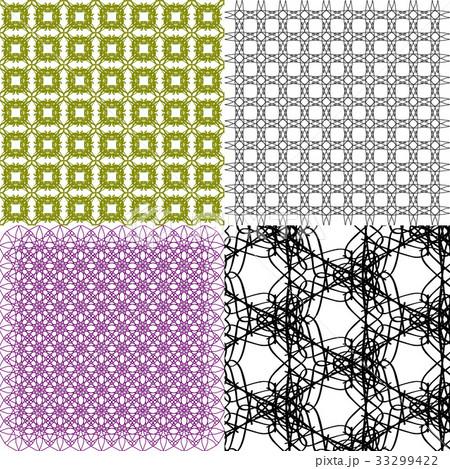 Set of 4 monochrome elegant patterns.Vector ornameのイラスト素材 [33299422] - PIXTA