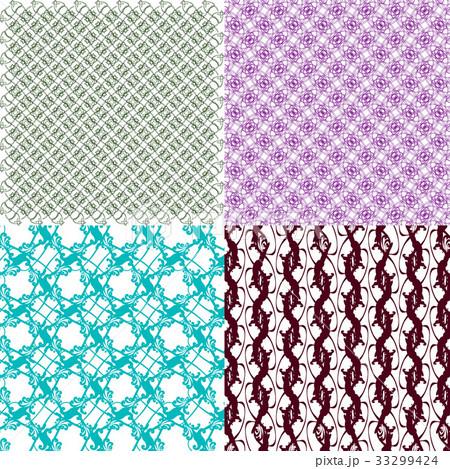 Set of 4 monochrome elegant patterns.Vector ornameのイラスト素材 [33299424] - PIXTA