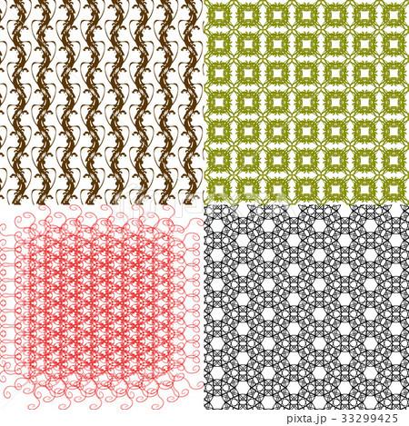 Set of 4 monochrome elegant patterns.Vector ornameのイラスト素材 [33299425] - PIXTA