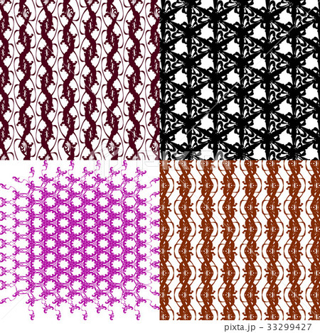 Set of 4 monochrome elegant patterns.Vector ornameのイラスト素材 [33299427] - PIXTA