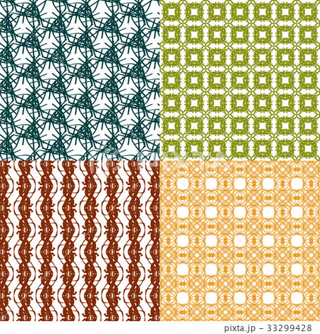 Set of 4 monochrome elegant patterns.Vector ornameのイラスト素材 [33299428] - PIXTA