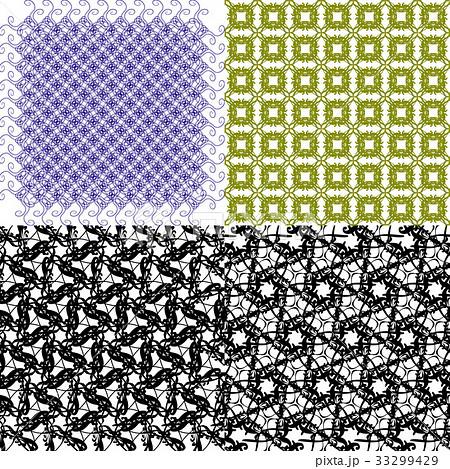 Set of 4 monochrome elegant patterns.Vector ornameのイラスト素材 [33299429] - PIXTA