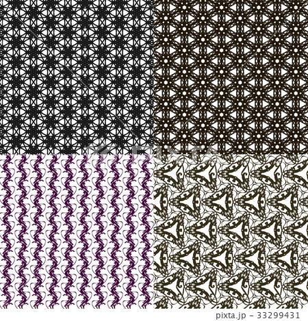 Set of 4 monochrome elegant patterns.Vector ornameのイラスト素材 [33299431] - PIXTA
