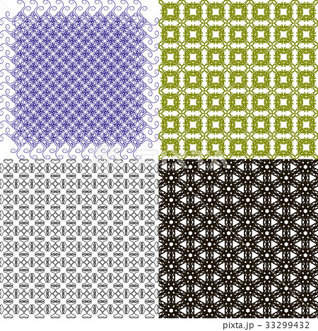 Set of 4 monochrome elegant patterns.Vector ornameのイラスト素材 [33299432] - PIXTA