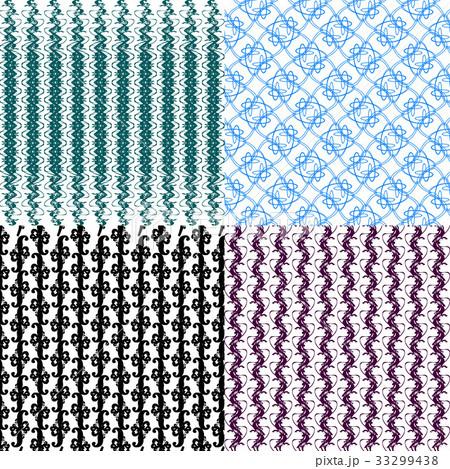 Set of 4 monochrome elegant patterns.Vector ornameのイラスト素材 [33299438] - PIXTA