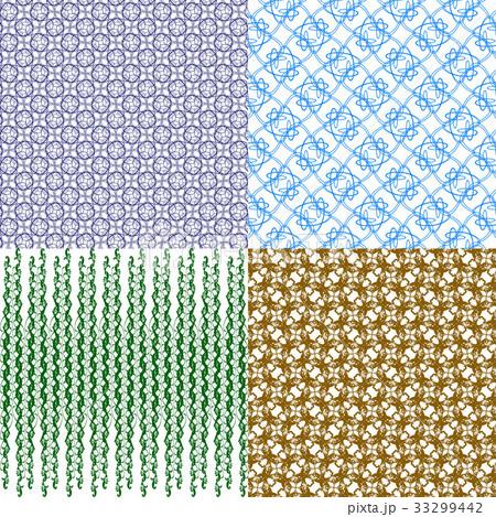 Set of 4 monochrome elegant patterns.Vector ornameのイラスト素材 [33299442] - PIXTA