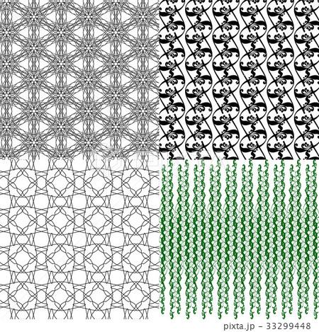 Set of 4 monochrome elegant patterns.Vector ornameのイラスト素材 [33299448] - PIXTA