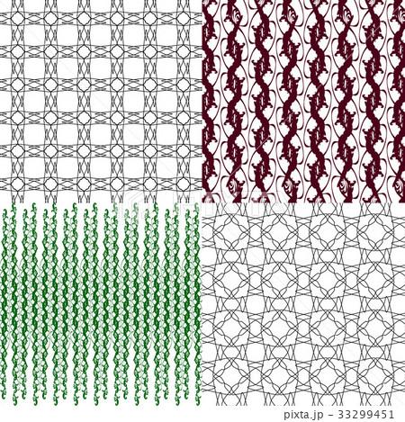 Set of 4 monochrome elegant patterns.Vector ornameのイラスト素材 [33299451] - PIXTA