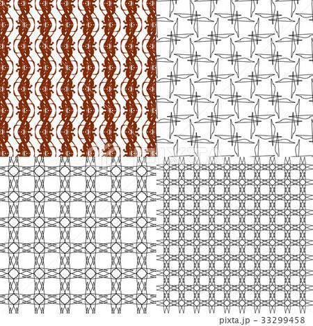 Set of 4 monochrome elegant patterns.Vector ornameのイラスト素材 [33299458] - PIXTA