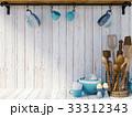 Kitchen utensils on white wood background  33312343