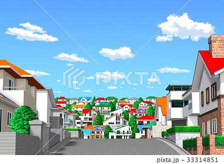 町 住宅街 坂道 青空のイラスト素材 33314851 Pixta