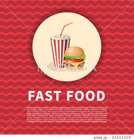 Burger and soda cup poster. Cute cartoon colored 33315359