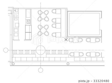 Standard cafe furniture symbols on floor plansのイラスト素材 [33320480] - PIXTA