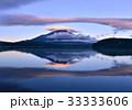 富士山 逆さ富士 笠雲の写真 33333606
