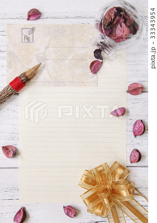 flat lay stock photography letter paper templateの写真素材 33343954