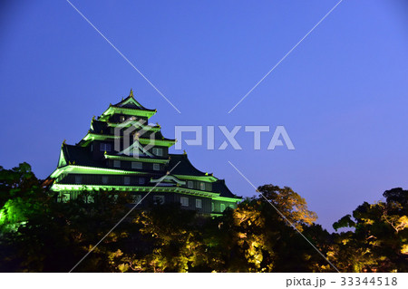 岡山城のライトアップ 33344518