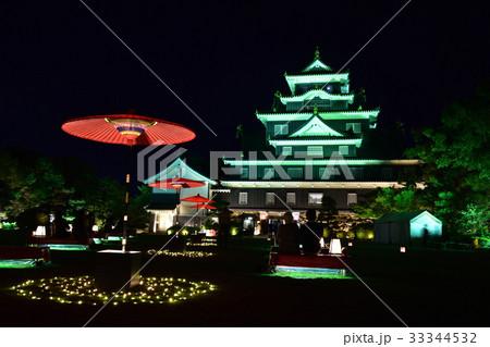 岡山城のライトアップ 33344532