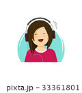 Girl in headphones listening music and smiling 33361801