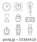 時計 アイコン 線のイラスト 33364410