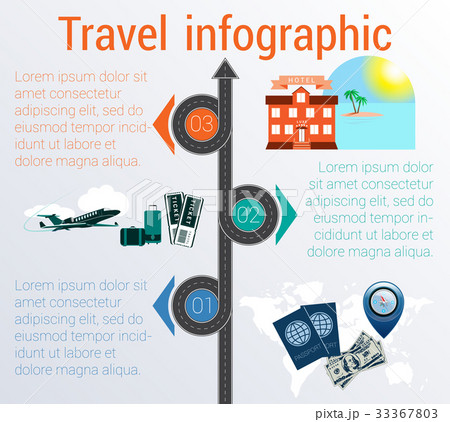 Travel infographic. Template 3 positions. のイラスト素材 [33367803] - PIXTA