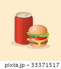 Burger and soda in a tin can - cute cartoon 33371517