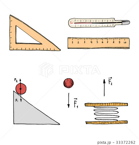 Ruler and thermometer, circuit and graph. engravedのイラスト素材 [33372262] - PIXTA