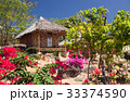 wooden bungalows in tropical garden  33374590