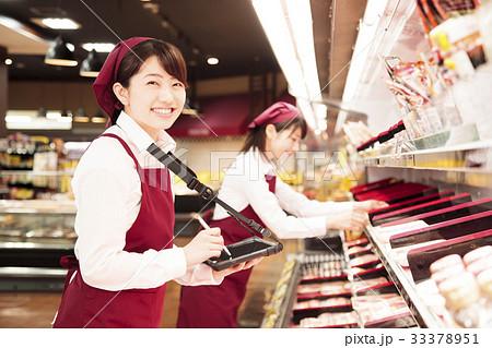 スーパー 発注端末機 スーパーマーケット 店員 スタッフ 33378951