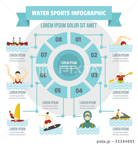 Water sport infographic concept, flat style 33384895