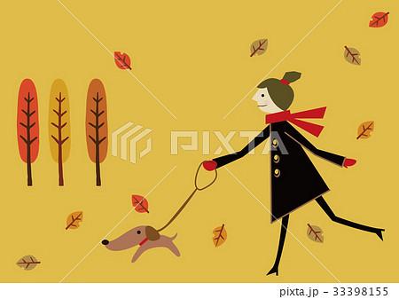 秋のイメージ 風景 犬の散歩 33398155