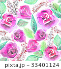 Watercolor seamless pattern with purple roses 33401124