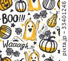 Ink hand drawn seamless pattern halloween symbols 33401246