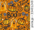 Ink hand drawn seamless pattern halloween symbols 33401249